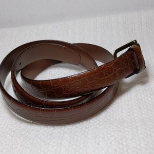"40"" brown leather belt w/snakeskin or croc pattern"